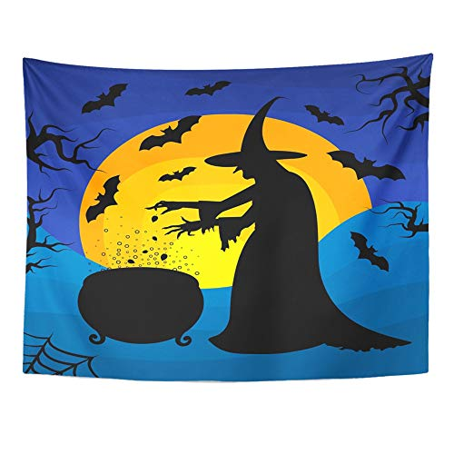 Emvency Tapestry Mandala 60x80 Inch Home Decor Old Scary Witch Cooks Potion in Cauldron On Sunset Halloween Cartoon Character for Bedroom Living Room Dorm for $<!--$19.90-->