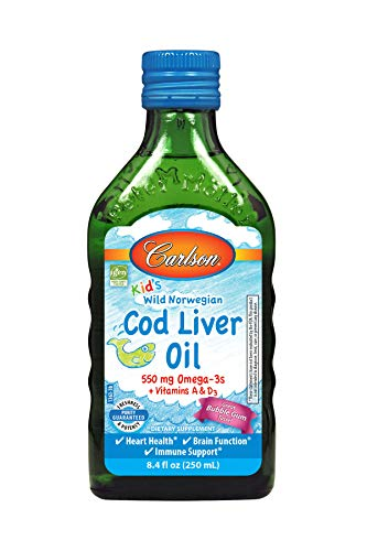 Carlson Kid's Cod Liver Oil, Norwegian, Bubble Gum, 550 mg Omega-3s, 250 mL