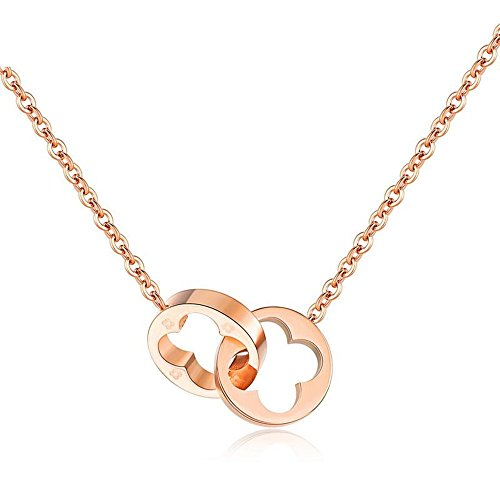 YOYOMA Necklace for Women,Lucky Charm Pendant Necklaces Rose Gold Stainless Steel Long Chain Necklace for Girls (#3 Four Leaf (Gold Three Leaf Clover)
