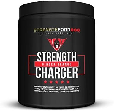 Pre Workout Booster 500g mit TheaCrine, AstraGin, Guarana, Grüntee-Extrakt, wasserfreies Koffein ohne Kreatin (Ginger-Orange)