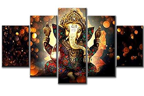 5 Pcs Indian God Ganesh Deity Abstract Canvas - 5 piece Ganpati Bappa Maurya Canvas For Your Home/Office Room (40x60cmx2,40x80cmx2,40x100cmx1)