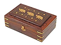 Christmas Thanksgiving Gifts Decorative Wooden Jewelry Trinket Holder Keepsake Storage Box Organizer with Intricately Hand Carved Elephant Brass Inlay & Velvet Interior