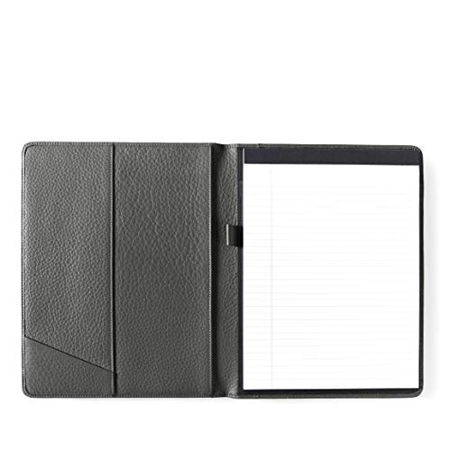 - Leatherlogy Standard Padfolio with Pen Loop - Full Grain Leather Leather - Charcoal (Gray)