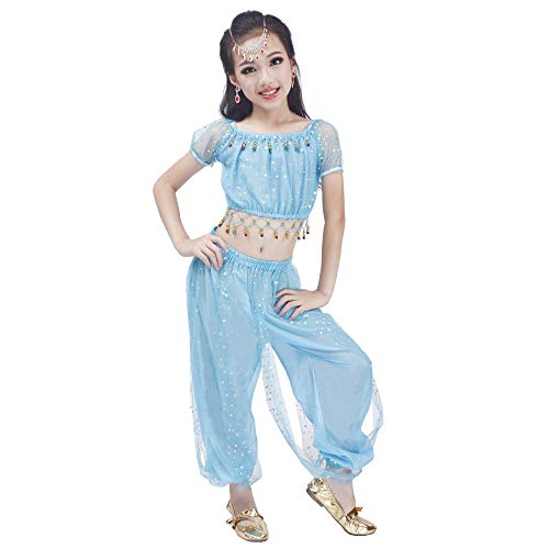 Maylong Girls Polka Dot Harem Pants Belly Dance Outfit Halloween Costume DW50 (Large, Sky -