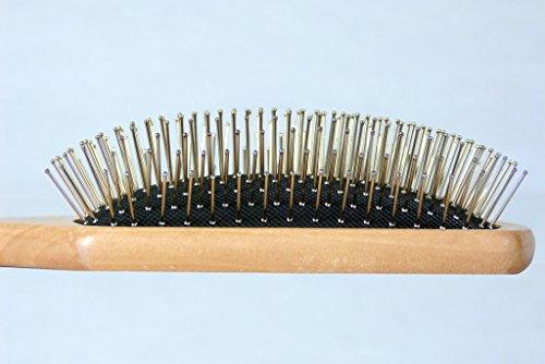 Hair brush with metal bristles
