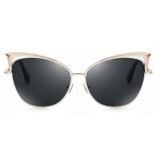 para metal de sol de Marco Conducción UV Lady's polarizadas Gafas de de de Gafas colores mujer Protección Elegante gato de de Gafas gran tamaño Graceful Negro Retro Estilo Ojos l sol Para sol Lente Unisex Twqg7