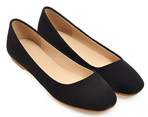 Aisun Women's Comfy Square Toe Low Top Slip On Flat Loafers Black C6YCHIB