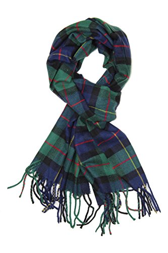 Scarf Fleece Green (Classic Luxurious Soft Cashmere Feel Unisex Winter Scarf in Checks and Plaid (Navy-Green Plaid))