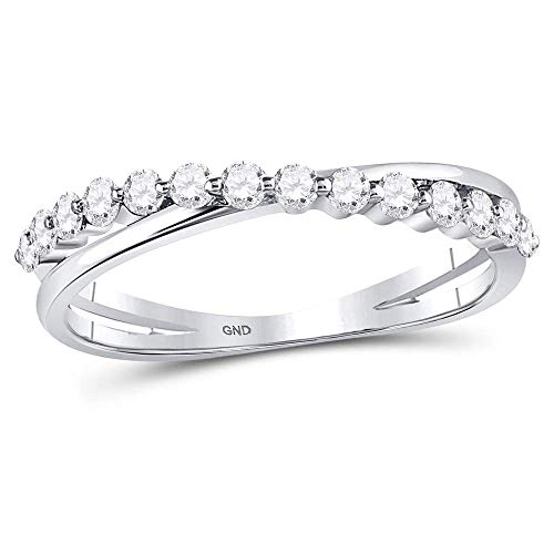 Jewels By Lux 10kt White Gold Womens Round Diamond Single Row Crossover Stackable Band Ring 1/3 Cttw In Prong Setting (I1-I2 clarity; H-I color) Ring Size 7 - Ladies Single Diamond Band