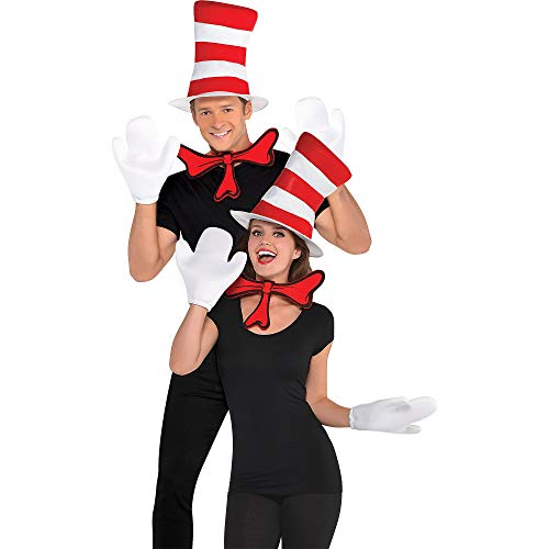 Party City Dr. Seuss Cat in the Hat Costume Accessory Kit for Adults, One Size, Includes Hat, Bow Tie and