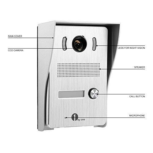 2 C/âbles Syst/èmes Interphones avec 1 Sonnette dExt/érieure Visuelle 90/° et 1 Moniteur Ecran Vid/éo HD Vision Nocturne IR pour Surveillance 1byone Visiophone 7 Pouces Vid/éo avec Fil Couleur