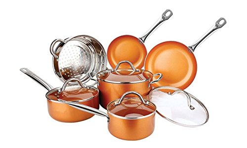 Copper H-02628 Pan 10-Piece Luxury Induction Cookware Set Non-Stick, 21.5 x 11.5 x 11 inches by Copper