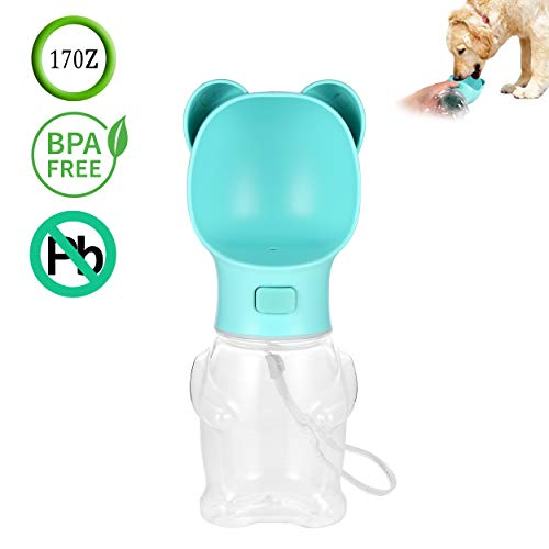 Akarden Dog Water Bottle for Walking, 17 oz Portable Dog Travel Water Bottle, Pets Outdoor Drinking Bottle, Made of Food-Grade Silicone ()
