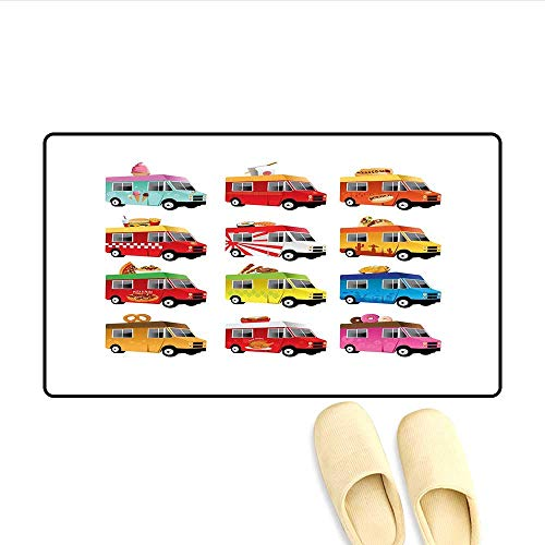 (Bath Mat Ice Cream Asian Doughnut Burgers Pizza Sushi Hotdog Colorful Food Truck Illustration Door Mats for Inside Multicolor 32