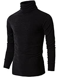 H2H Mens Casual Basic Knitted Turtleneck Slim Fit Pullover Thermal Sweaters