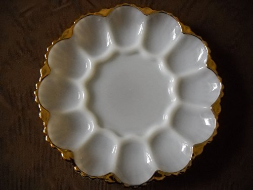 WHITE MILK GLASS DEVIL EGG PLATE TRIMMED IN GOLD - Gold Milk Glass