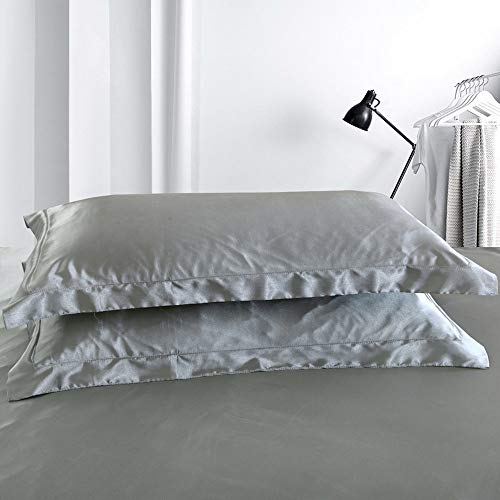 Silver Gray Silk Pillowcases 2 Pack Standard Size, Grey Satin Silk Pillow Cases for Hair and Skin Beauty, Include 2 Standard Pillowcases. Mulberry Silk = Good Dreams.