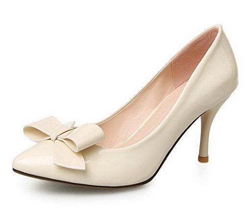 AgooLar Damen PU Rein Ziehen auf Spitz Zehe Stiletto Pumps Schuhe, Golden, 42
