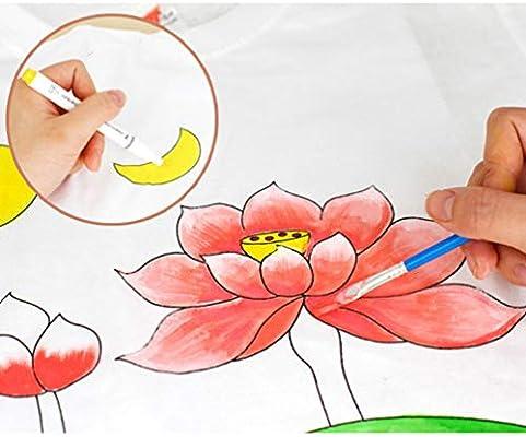 Artibetter Tie Dye Shirt Kit White Cotton Plain T-Shirts to Paint Kids DIY Painting Kit Adults Style Size L