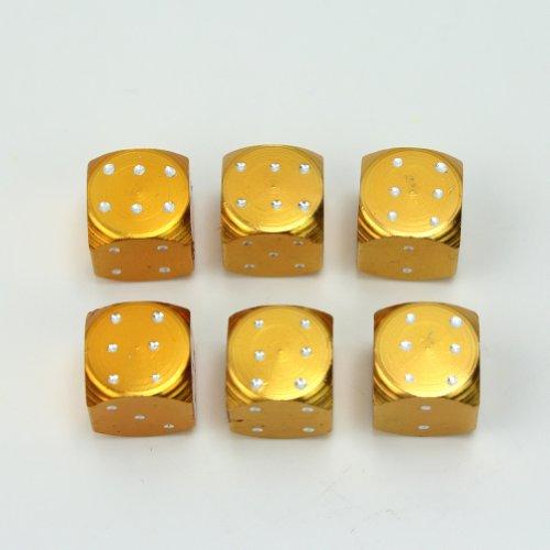 6 Pcs Gold Tone Dice Bike Car/Truck Tire/Wheel Stem Air Valve Dust Caps Set New