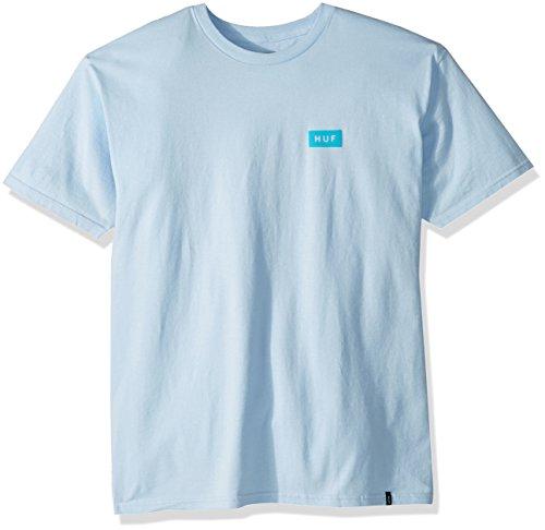 HUF Men's Bar Logo Flock Tee, Light Blue, M