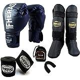 Kit Boxe Muay Thai - Luva + Bandagem + Bucal + Caneleira Preto - Fheras