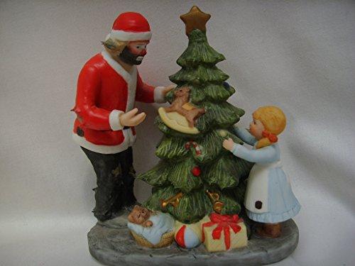 "Flambro Clown Collection Porcelain Vintage Figurine 5"" Collectible ; Emmett Kelly Jr. Spirit of Christmas III"