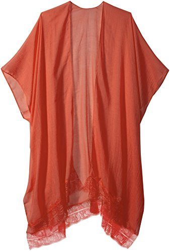 Orchid Row#039s Classic Kimono with Lace Trim Detail Red