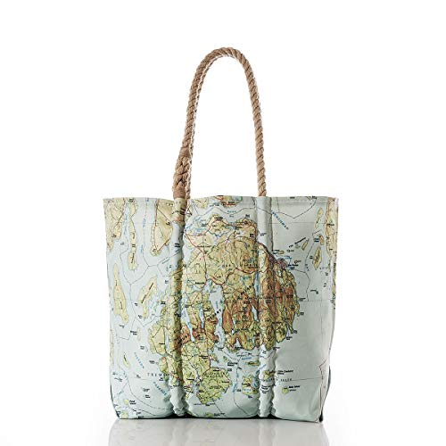 Sea Bags Recycled Sail Cloth Antique Bar Harbor Map Tote