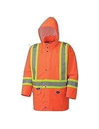 Pioneer V1140150-5XL Pu Stretch Waterproof Safety Jacket, Orange 5XL