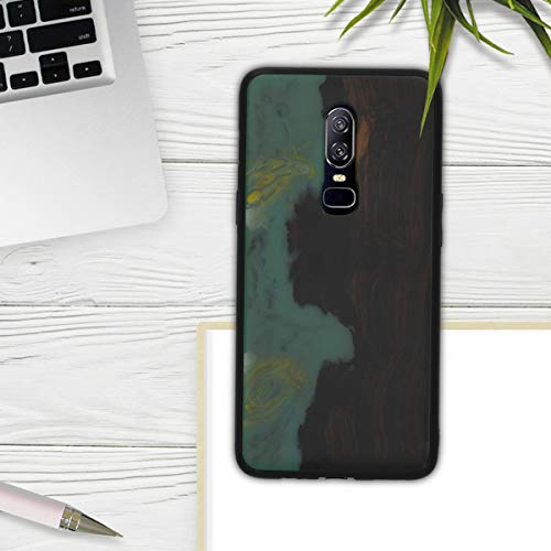 kwmobile Case Compatible with OnePlus 6 - Hard Cover with Real Wood and Synthetic Resin Back - Wood and Resin Mint/Orange/Dark Brown
