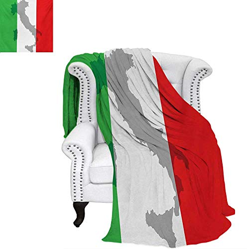 Italian Flag Velvet Plush Throw Blanket Map View of Italy Land Chart National Country Europe Ancient Culture Throw Blanket 70