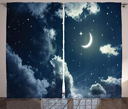 Moonlight Photo (Ambesonne House Decor Collection, Crescent Moon and Stars on a Cloudy Starry Night Sky with Moonlight Astronomy Theme Picture, Living Room Bedroom Curtain 2 Panels Set, 108 X 90 Inches, Navy Grey)
