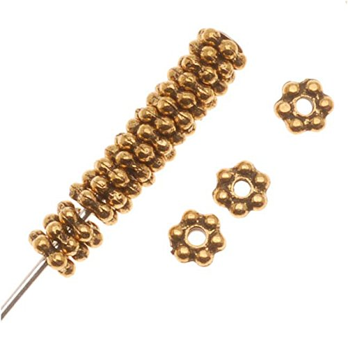 22K Gold Plated Pewter Daisy Spacer Beads 3mm (Pewter Daisy Spacer Beads)