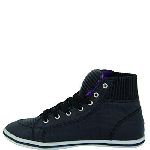 Unbekannt - Zapatos de cordones de Material Sintético para mujer Negro - negro