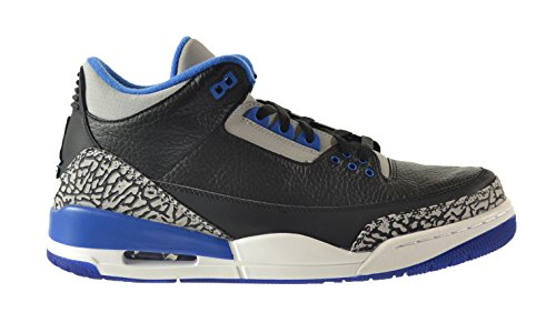Jordan Air 3 Retro Men's Shoes Black/Sport Blue-Wolf Grey 136064-007 (11 D(M) US)