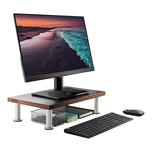 Monitor Stand for Computer & Laptop Screen - Solid Bamboo Riser Supports The Heaviest Monitors, Printers, or TVs - Perfect Shelf Organizer for Office Desk Accessories & TV Stands (Brown) ()