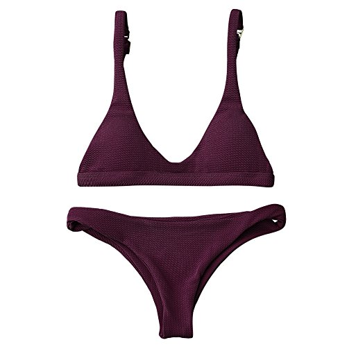 (ZAFUL Women Padded Scoop Neck 2 Pieces Push Up Swimsuit Revealing Thong Bikinis V Bottom Style Brazilian Bottom Bra Sets(MERLOT M))