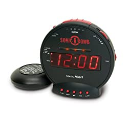 Sonic Bomb Alarm Clock with Powerful Bed Shaker Attachment and Large LCD Display Features Built-In Pulsating Alert Lights, Snooze Function and Battery Backup