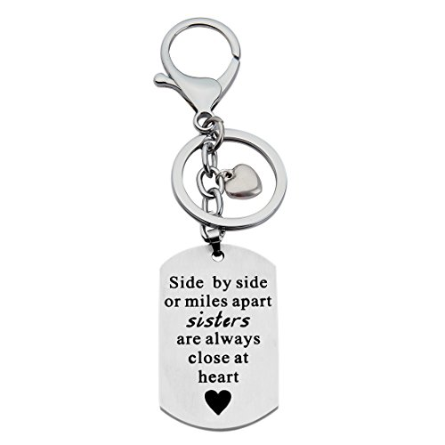 WUSUANED Side by Side or Miles Apart Sisters are Always Close at Heart Dog Tag Necklace Keychain for Sisters Friends (Sister Friends Keychain)