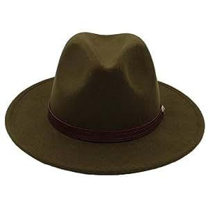 Fashion Sun Hat for Women Men Fedora Hat Classical Wide Brim Felt Floppy Cloche Cap Chapeau Imitation Wool Cap Autumn Winter Sun Hat Suitable for hot Weather Season (Color : Green, Size : 56-58CM)