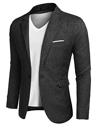 COOFANDY Men's Casual Suit Blazer Jackets Lightweight Sports Coats One Button (M, 1-Black)