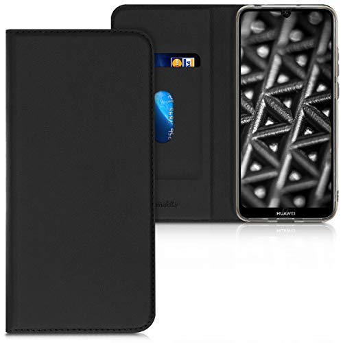 kwmobile Flip Case for Huawei Y6 (2019) - Smooth PU Leather Wallet Folio Cover with Stand Feature - Black