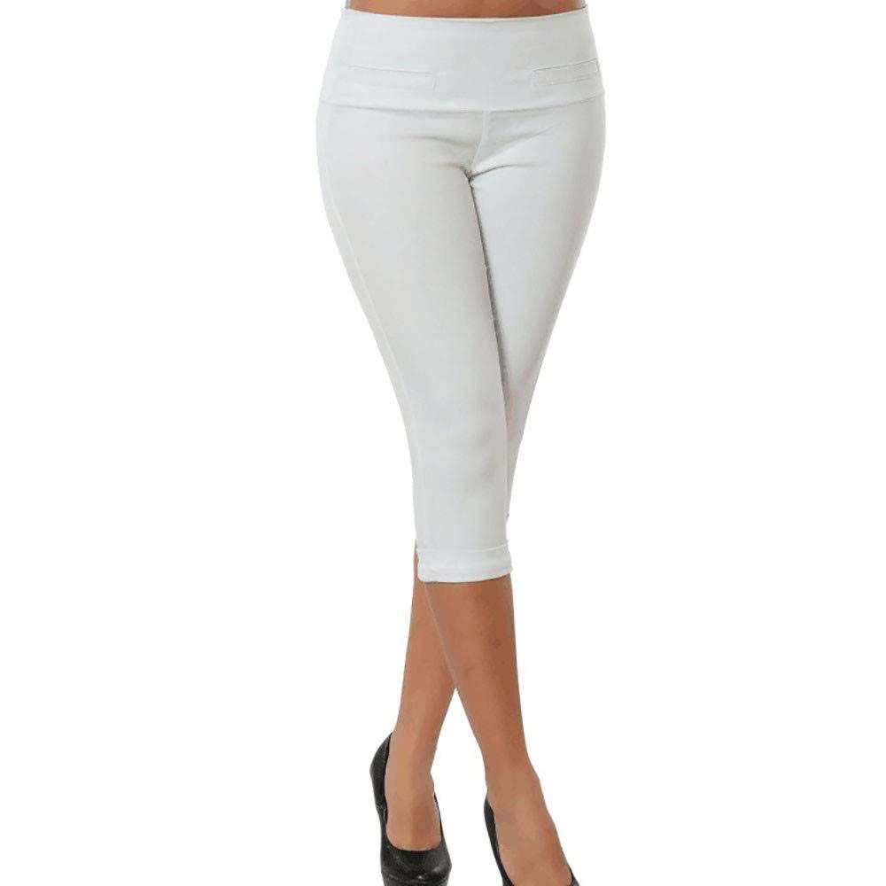 ZEFOTIM Clearance Fashion Women Plus Size Solid Button Zipper Casual Pants Calf-Length Trousers (S,Z-White)