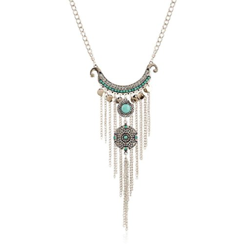 Usstore Women Fashion Pendant Bohemian Gypsy Style Turquoise Tassel Long Chain Necklaces (Hot Dollar Costumes)