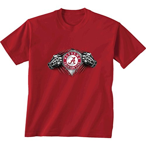 New World Graphics NCAA Alabama Crimson Tide Children Unisex Youth Super Short Sleeve Tee, Medium, Cardinal (Iron T Shirt Alabama Bowl)