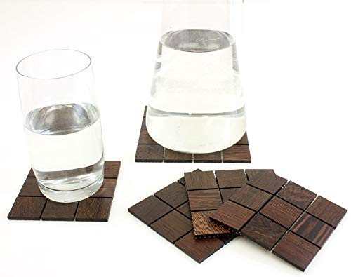 wodewa Wood Coasters Set of 5 Placemats I Real Mosaic Wood Coaster Wenge I Natural Solid Wood Square for Drinks Bar Table I Dining Accessories