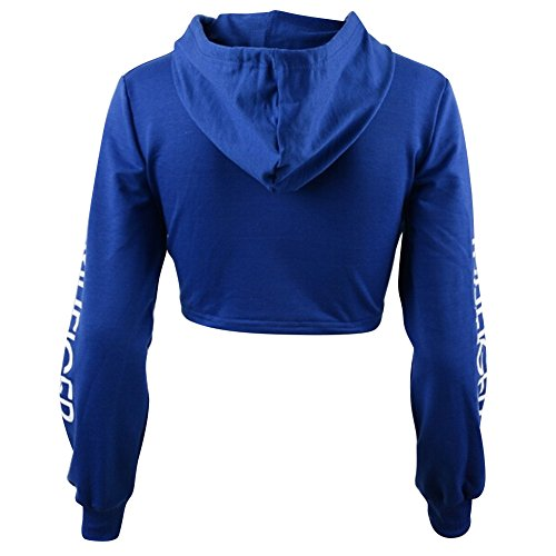 hibote Señoras camiseta encapuchada Jumper Mujeres recortada Top / mangas largas Azul