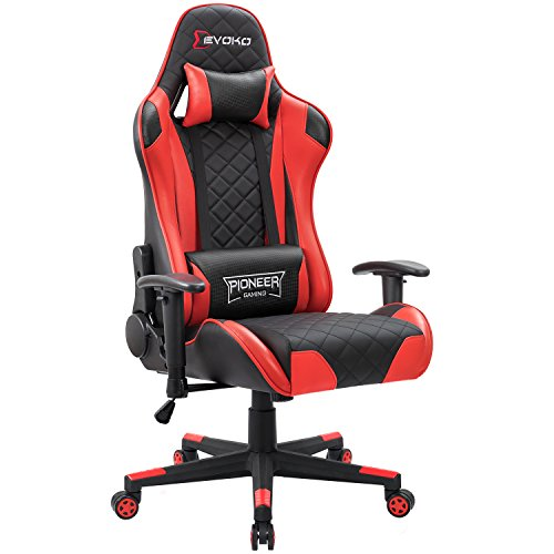 Devoko Racing Style Gaming Chair Height Adjustable Swivel PC Computer Chair with Headrest and Lumbar Massage Support Leather Reclining Executive...