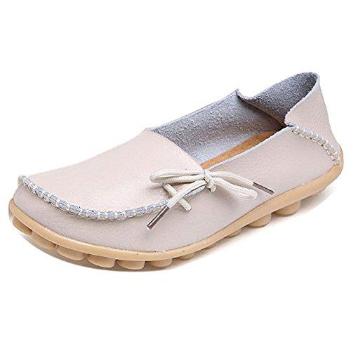 Lonsoen Dames Mocassin Raceschoenen Casual Massief Leren Loafer En Slip Op Boot Flats Beige